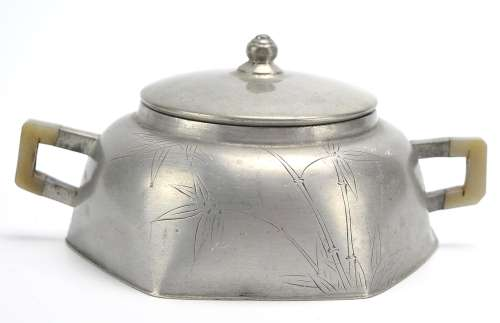 Chinese Pewter Jade Handle Container &Cover,ROC P.