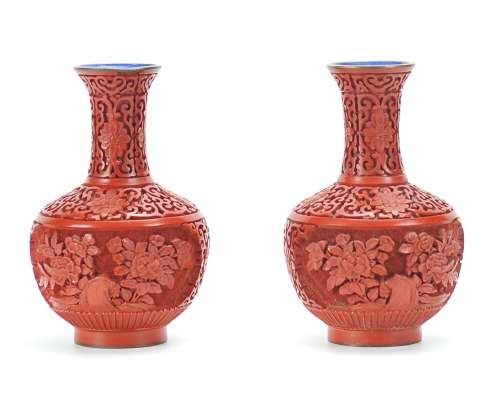 Pair of Lacquer Vases, 20th C.