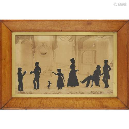 AUGUSTE EDOUART (1789-1861) FRAMED SILHOUETTE PORTRAIT GROUP, DATED 1831 depicting Alexander