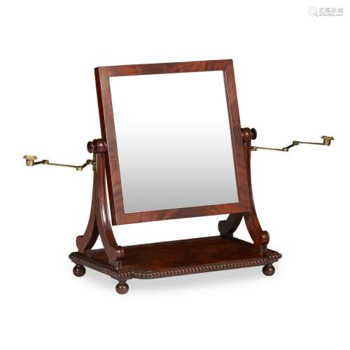 A SCOTTISH REGENCY MAHOGANY TOILET MIRROR CIRCA 1830 the rectangular frame with divided supports,