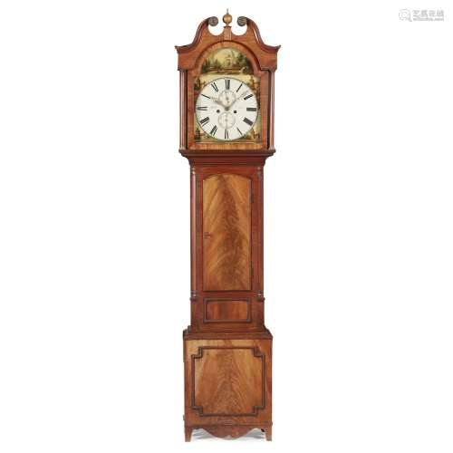 AN EARLY VICTORIAN MAHOGANY CASED LONGCASE CLOCK BY ROBERT WILKIE, CUPAR CIRCA 1840 the painted dial