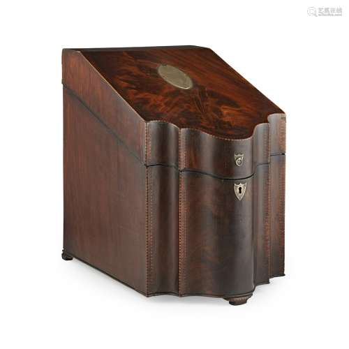 A FINE GEORGE III SILVER-MOUNTED MAHOGANY KNIFE BOX 18TH/EARLY 19TH CENTURY the sloped top with