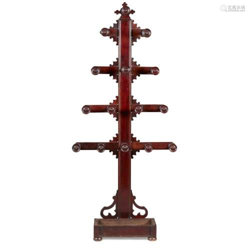 A SCOTTISH EARLY VICTORIAN MAHOGANY HAT AND COAT STAND CIRCA 1840 the moulded central column with