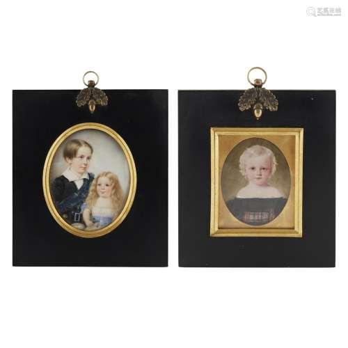 HERMAN (FL. C. 1820-1840) A PORTRAIT MINIATURE OF A SCOTTISH BOY AND GIRL, CIRCA 1840 each wearing a