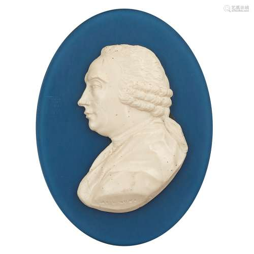 A PORTRAIT MEDALLION OF DAVID HUME, BY JAMES TASSIE LATE 18TH CENTURY the white paste relief bust