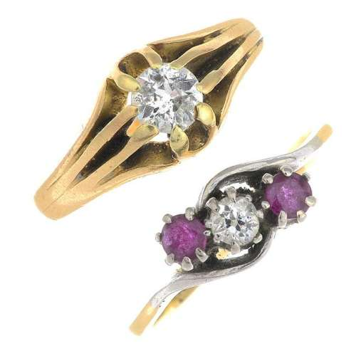 Two early 20th century 18ct gold diamond and gem-set