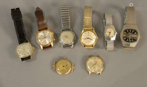 Seven piece lot of mens vintage wristwatches to include