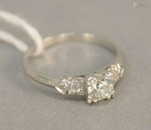 Platinum ring set with center diamond approx. .50 cts