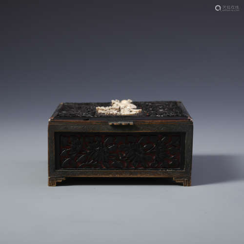 A Finely Carved Chinese Lacquer and Cinnabar Rectangular Box