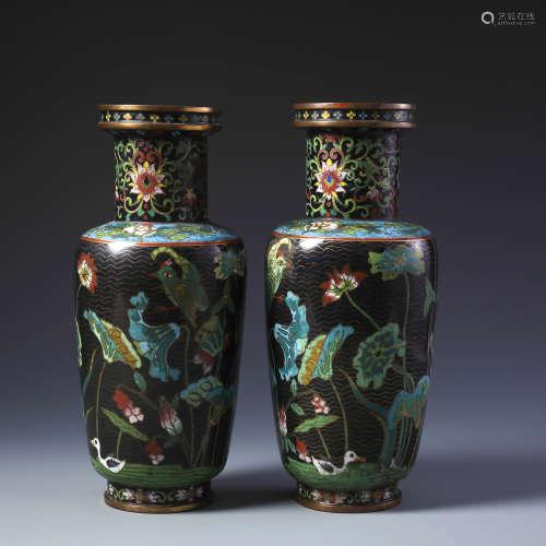 Pr Chinese Gilt Bronze and Cloisonne Enamel Rouleau Vase