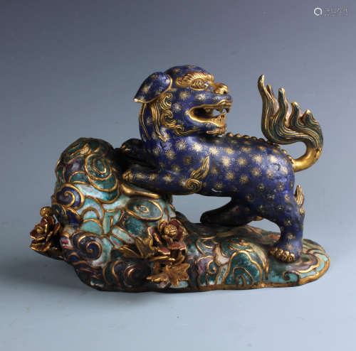 A Chinese Carved  Cloisonne Enamel and Gilt Bronze  Lion