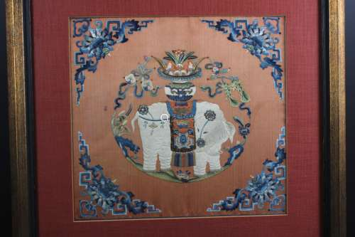 A Chinese 'ELEPHANT' Embroidery, Reign of Tai Ping