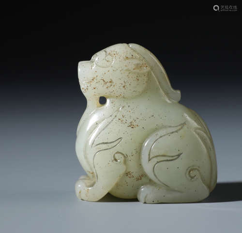 A Fine Chinese Carved  White Jade Recling Beast