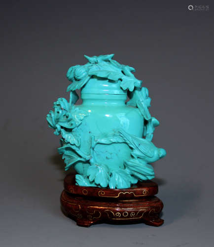 A Chinese  Turquoise 'Flower and Bird' Vase and Matching Silver Inlaid Stand