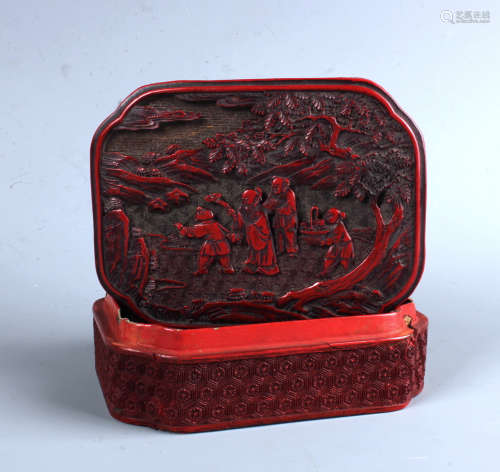 A Chinese Cinnabar  Red Lacquered Box
