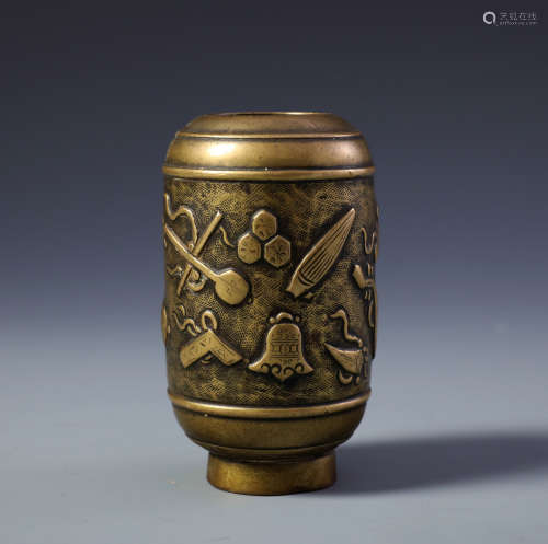 A Finely Carved Chinese Bronze Cylindrical Vase