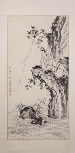 A Fine Chinese Hand-drawn Painting of Guanyin Signed By Puru