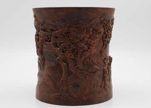 A Chinese Carved Hardwood Brush Pot